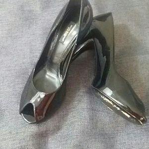 Dolce & Gabbana Black Patent Peep Toe Heels